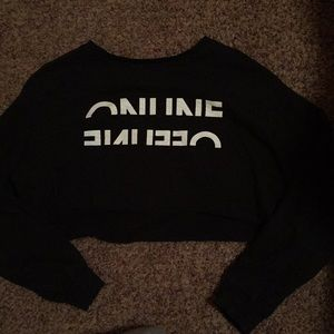 Black sweater crop top